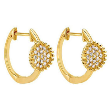 "Gabriel 14K Yellow Gold Diamond Pave Circle Hoop Huggy ""Bombay"" Earrings With 0.20 Carat Diamonds"