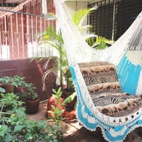 Beige and Turquoise Hanging Chair Natural Cotton and Wood plus Simple Fringe