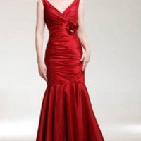 Trumpet/ Mermaid V-neck Floor-length Taffeta Evening Dress - $129.99