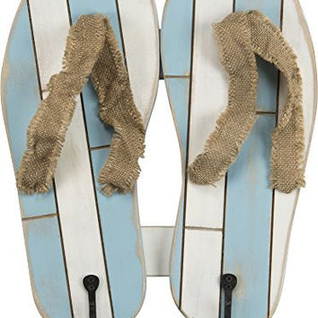 Flip Flop - Beach Lake Pool Style Towel Coat Hook Hanger Board (2 Sandals Hooks)