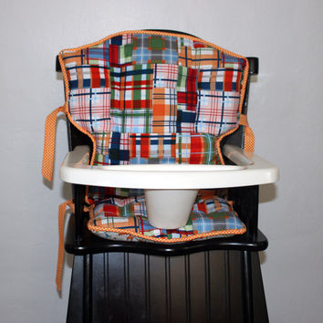 Custom Eddie Bauer Madras Plaid High Chair Cushions, High Chair Pads, High Chair Cover, Highchair Pads, Wooden Highchair Cover