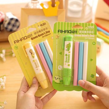 1 set Cute Pen Shape Eraser Rubber Stationery Kid Gift   Correction erasers School & Office Supplies Students Erasers papelaria