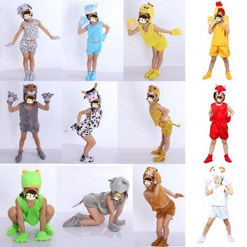 2017 Boy Girls Various Animal Costume Kids Duck Lion Cow Monkey Pig Anime Theme Cosplay Headpiece Hallowmas Fancy Dress Costume