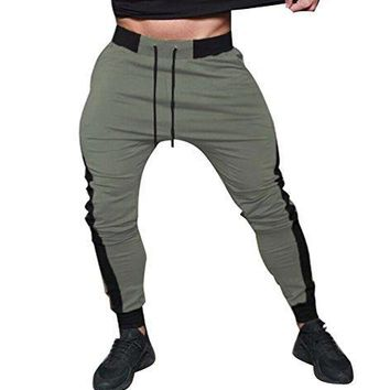 USGreatgorgeous Men's Fitted Shorts Bodybuilding Workout Gym Running Jogger Pants (XL, Army green)
