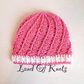 Trendy womens pink and white crochet hat, beanie, cap, spiral pattern, available in many colors and sizes.