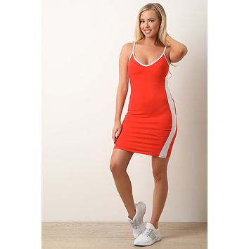 Contrast Trim Sporty Striped Side Bodycon Dress