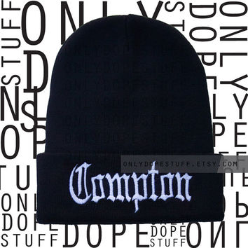 Compton Beanie Old English Black Beanie Mens Womens Boys Girls OG Gangsta Beanie
