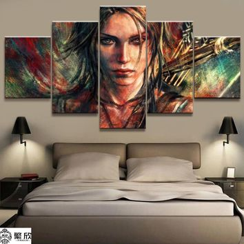5 Panel Tomb Raider Lara Croft Game Canvas Printed Painting For Living Room Wall Art Home Decor HD Picture Artwork Modern Poster