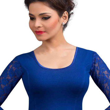 Royal Blue Cotton Lycra Long Sleeves Stretchable Saree Blouse SNT-A-16-SL