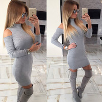 Winter Sexy off shoulder knitted dress