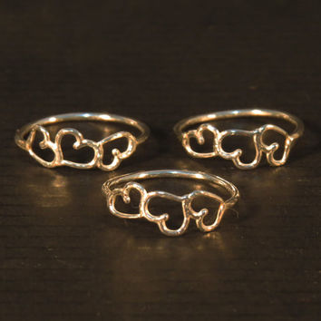 3 sister rings,  Tiny heart ring sterling silver, Big sister little sister rings