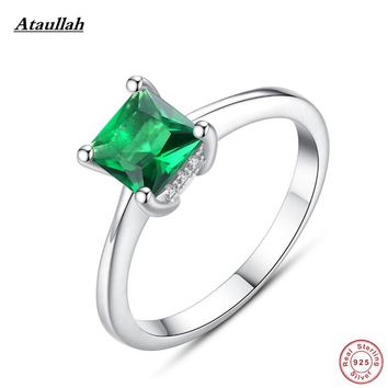Ataullah Natural Emerald 925 Sterling Silver Rings for Women Square Quality Silver Women Party Rings Size 6,7,8,9 RWD860