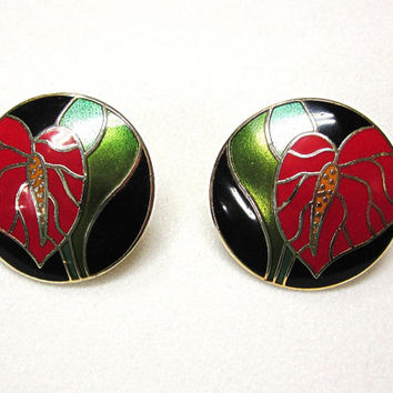 Vintage Laurel Burch Red Anthurium Pierced Earrings
