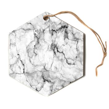 "Chelsea Victoria ""Marble No 2"" Black Modern Hexagon Holiday Ornament"