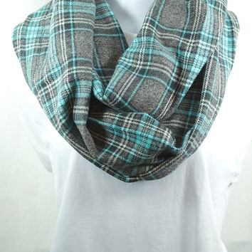 Blue Plaid Infinity Scarf - 100% Cotton in Cotton Flannel - Pre-washed Pre-shrunk - Handmade - Great Gift - Easy Care