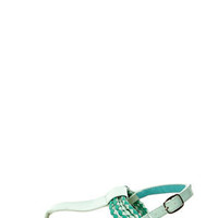 Aliza 17 Mint Green Patent Braided Thong Sandals