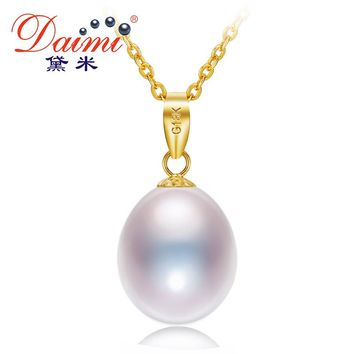 DAIMI Black Or White Pearl 18K Yellow Gold Pendant Necklace Natural Freshwater Pearl Pendant 45cm Fine Jewelry Gift For Women