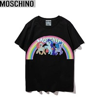 Moschino Summer New Fashion Letter Rainbow Print Women Men Top T-Shirt Black