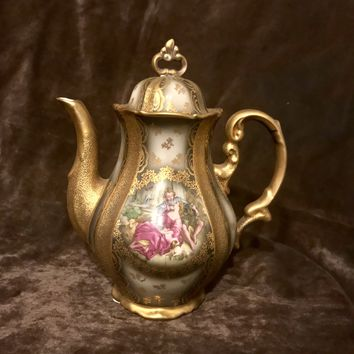 Stunning Vintage Hertel Jacob Bavaria Germany Coffee Tea Pot Heavy Gold Scene