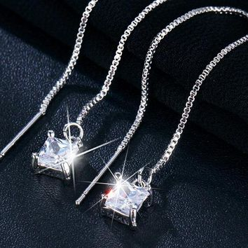Cubic Zirconia Square Drop Earrings