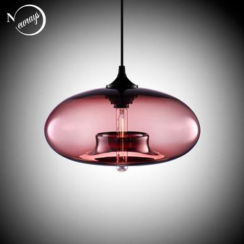 New Simple Modern Contemporary hanging 6 Color Glass ball Pendant Lamp Lights Fixtures e27/e26 for Kitchen Restaurant Cafe Bar