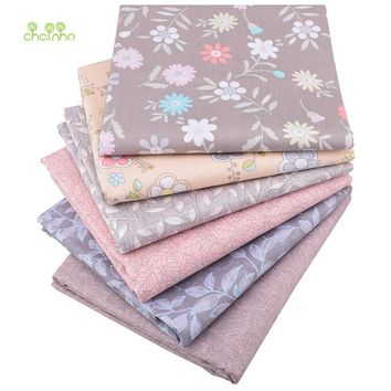 Chainho,Floral Series, Printed Twill Cotton Fabric,For DIY Quilting Sewing Baby&Child Sheet,Pillow,Cushion Material,Half Meter