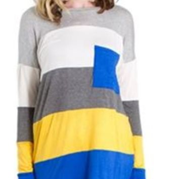 Vanilla Bay Game Day Color Block Tunic Top in Blue and Yellow VT3739C