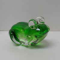 Vintage Green Art Glass Frog Figurine Paperweight