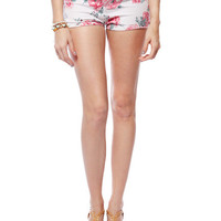 Papaya Clothing Online :: FLORAL DENIM SHORTS