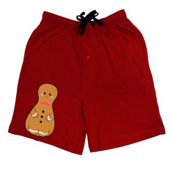 Cute Gingerbread Matryoshka Nesting Doll - Christmas Adult Lounge Shorts - Red or Black