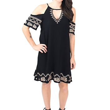 Women's Embroidered Cold Shoulder Shift Dress