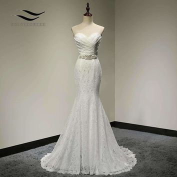 Pleat Bridal Gown Photos Lace Mermaid