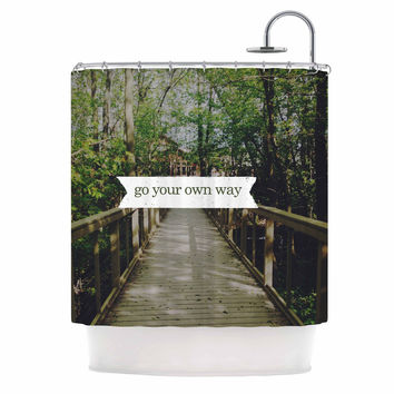 """Chelsea Victoria """"Go Your Own Way"""" Nature Green Shower Curtain"""