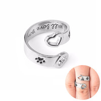 """Dog Paw Print Hollow Heart Wrap Around """"I will love you forever"""" Hand Stamped Personalized Rings Love Pet Memorial Jewelry"""