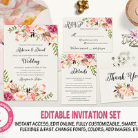 Boho Wedding Invitation Template Editable Blush Pink Floral Wedding Invite Printable Romantic Wedding Set Instant Download, Edit w/ TEMPLETT