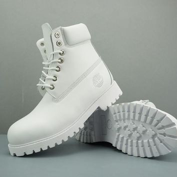 Timberland Leather Lace-Up Boot High White - Best Deal Online