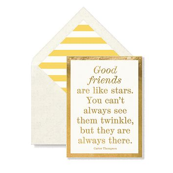 Good Friends Are Like Stars Greeting Card, Single Folded Card or Boxed Set of 8
