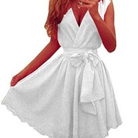 Women's Deep V-neck Sleeveless Chiffon Casual Party Summer Mini Skater Dress