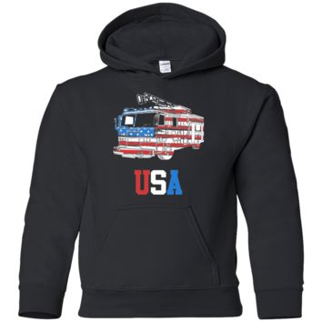 Living You Co. USA Fire Truck Youth Hooded Sweatshirt, USA Fire Truck Youth Hoodie, Fireman Youth Hoodie