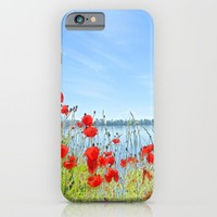Red poppies in the lakeshore iPhone & iPod Case by ARTbyJWP