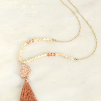Druzy & Tassel Long Necklace Rose Gold