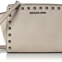 Michael Kors Women's Medium Selma Studded Leather Leather Messenger Bag Tote