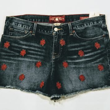 Lucky brand jean shorts with cute embroidery  size 12  -.