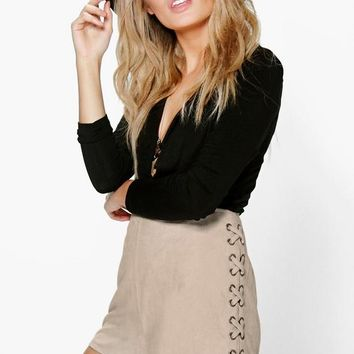 Aria Lace Up Side Faux Suede Shorts | Boohoo