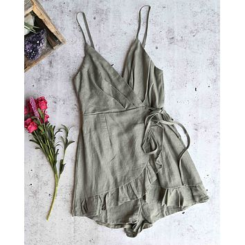 all the things we love wrap romper - khaki