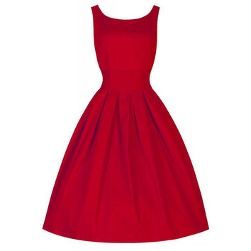 Vintage 50s Dress Hepburn Style Solid Color Bubble Dress  red   S