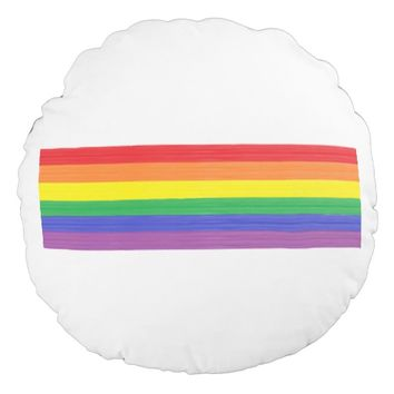 Painted Rainbow Flag Round Pillow