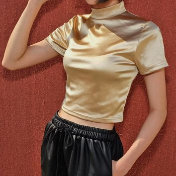 Women Solid Color Fashion Short Sleeve Half Turtleneck T-shirt Tight Crop Tops