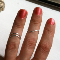 Set of 3 Hammered Sterling Silver Wavy Chevron Rings - custom made to size