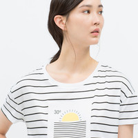 Faux leather patch t-shirt